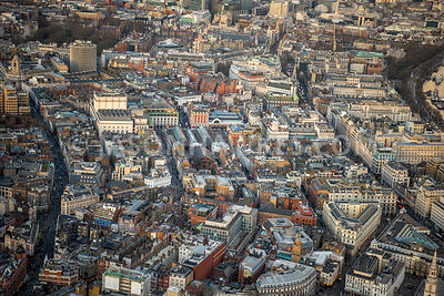 Aerial view of London, Strand with Covent Garden.