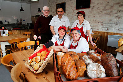 The Real Bread Company employs people with learning difficulties, The owners have expanded opening a new cafe, which aims to give staff new skills and help them find work..Donna Leach, Natalie Pitts.John Hughes, Chris Clark, Teresa Carson