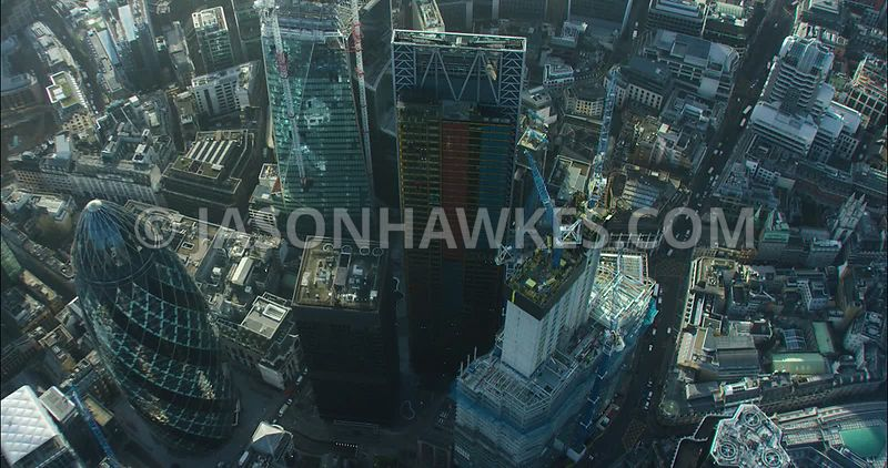 London Aerial footage, City of London with Leadenhall Building towards 20 Fenchurch Street.