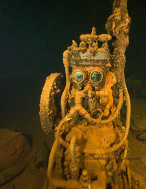 "A pump that looks like Star Wars character ""R2D2"" in the engine room of Fujikawa Maru shipwreck, Truk Lagoon, Federated States of Micronesia"