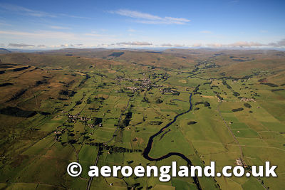 aerial photograph of the river Ure running through  Wensleydale in the Yorkshire Dales National Park ,  England UK