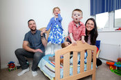 Dargavel Village, Bishopton.4.10.14.Lynn and Craig McClelland with kids Ryan (2) and Sofia (5) in their Taylor Wimpey home in Dargavel Village (south), Bishopton...Free PR use for Taylor Wimpey..More info from:.Hazel Taylor at Red Angel PR..7 Bonaly Wester.Colinton.Edinburgh.EH13 0RQ.Tel: 0131 441 9803.M: 07709 317 289.hazel.taylor@redangelpr.co.uk..Pictures Copyright: Iain McLean.79 Earlspark Avenue.G43 2HE.07901 604 365.www.iainmclean.com.photomclean@googlemail.com.07901 604 365.ALL RIGHTS RESERVED.