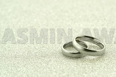 Wedding Rings with silver background