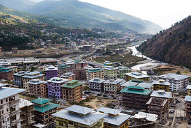The town of Thimphu, the capital and largest city of Bhutan.