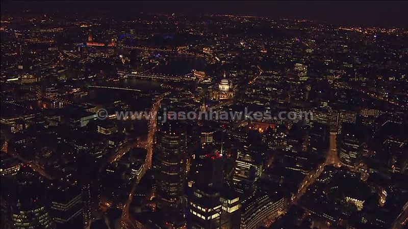 Aerial footage over St Paul's Cathedral at night, London, England, UK