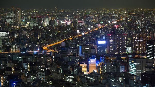 Bird's Eye: Tokyo Highway Interchanges Cutting Through The City at Night
