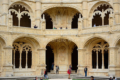 The Cloisters of the Jeronimos Monastery (Mosteiro dos Jeronimos), a UNESCO World Heritage Site. Lisbon, Portugal