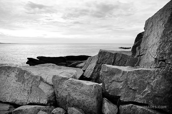 ROCKS AT OTTER CLIFF ACADIA NATIONAL PARK BLACK AND WHITE