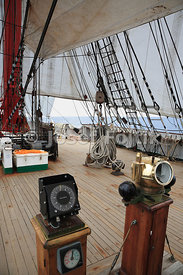 Gyrocompass and rudder position indicator (left) and magnetic compass (right), four masted barque Sedov, Murmansk