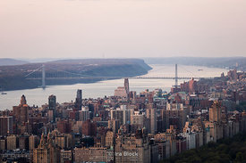 Manhattan from Top of The Rock looking north and west at the Hudson River and George Washington Bridge in New York.