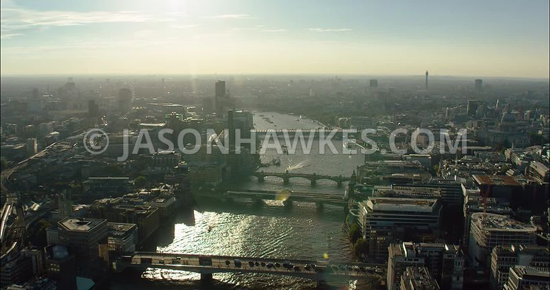London Aerial Footage of River Thames, London Bridge to Blackfriars Bridges