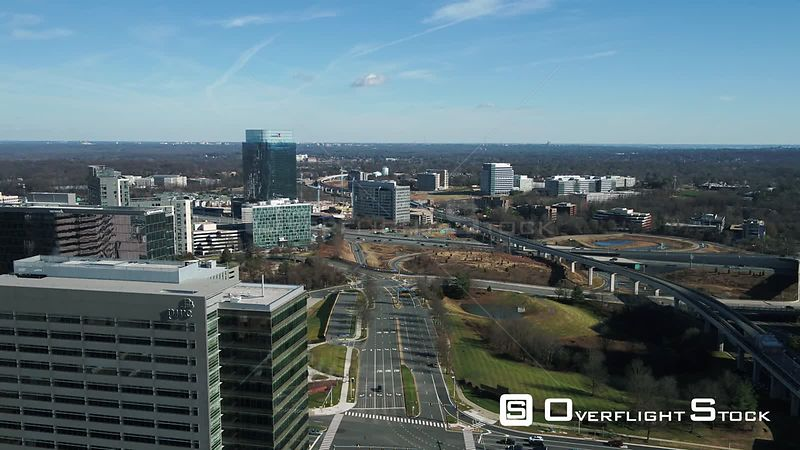 Tysons, Virginia, USA. Pedestal showing the Capital Beltway and the DC Metro Silver line.