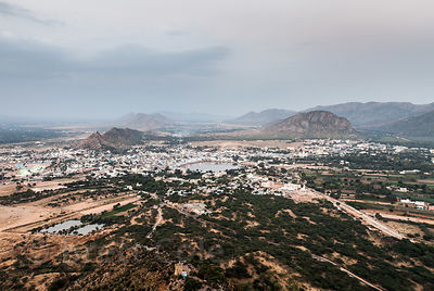 Aerial view of the Hindu holy city of Pushkar in the state of Rajasthan, India.