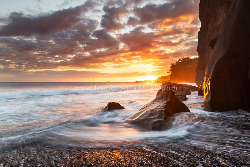 Photo coucher de soleil sur la page ti sable saint - Photos de coucher de soleil sur la mer ...