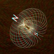 Anaglyph of a bar magnet with magnetic field lines