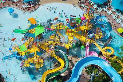 Aquatica Orlando is a huge water park with a wide range of rides including Walkabout Waters - a colourful fortress with slides and ladders.