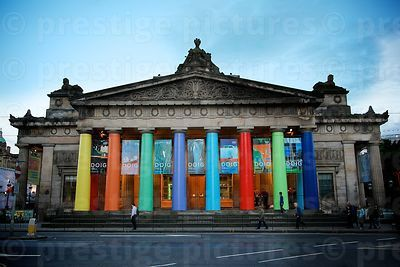 Colourful Pillars at the Scottish National Gallery reflecting the Evening Light