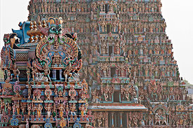 This photograph shows the beautiful architecture of the Meenakshi Amman Temple, Madurai