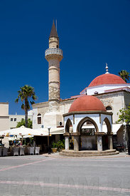 The Defender Mosque a remnant of the Ottoman occupation, Eleftheria Square, Kos Island, Dodecanese Islands, Greece.