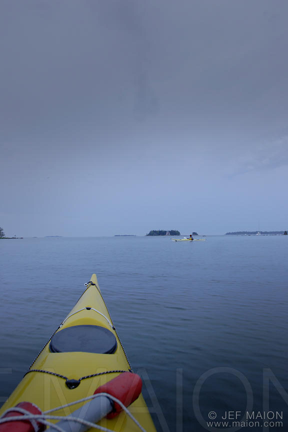 Yellow kayak and islands