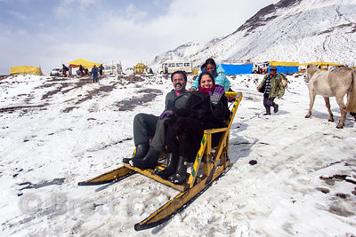 Indian tourists ride in a sled at Snow Point on the summit of Rohtang Pass, Manali, India