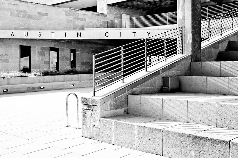 AUSTIN CITY HALL AUSTIN TEXAS BLACK AND WHITE