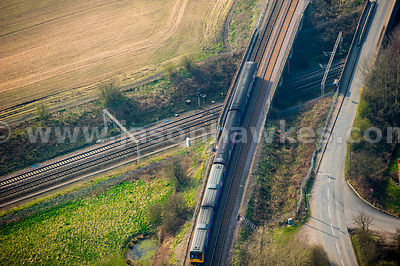 Aerial view of cross country train