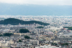 Kyoto city looking from Arashiyama Monkey Park Iwatayama in Arashiyama, Kyoto.