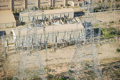Aerial view of electricity pylons, Libya