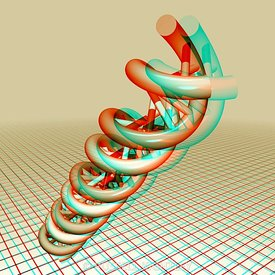 Anaglyph of a DNA molecule emerging from grid #1