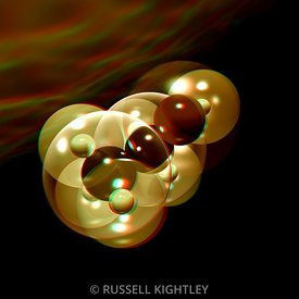 Anaglyph of an alcohol molecule (ethanol) #3
