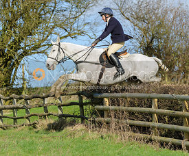 Clare Bell jumping a hedge above Wilson's Covert