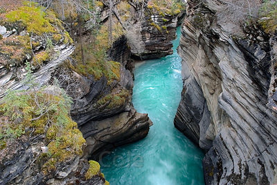 Deep aqua waters at Sunwapta Falls, Jasper NP, Canadian Rockies