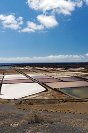 Salinas del Janubio, Salt flats near Playa Blanca, Lanzarote, Canary Islands, Spain.