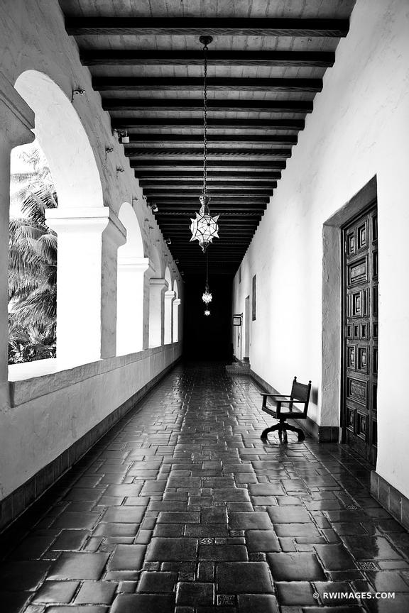 SANTA BARBARA ARCHITECTURE CITY HALL BALCONY BLACK AND WHITE VERTICAL
