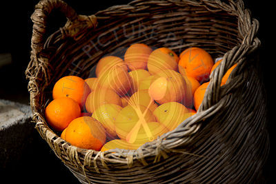 oranges for sale in wooden basket, Soller valley Mallorca,