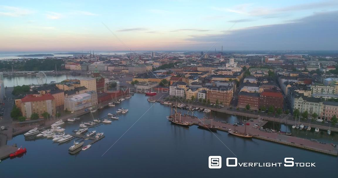 Helsinki City, Aerial View Towards the Cityscape and Churches of Helsingfors, on a Sunny Summer Morning Dawn, in Helsinki, Uusimaa, Finland