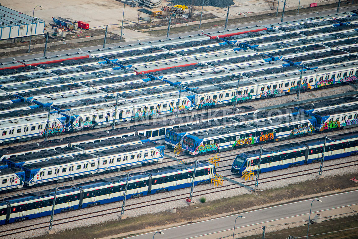 Aerial view of trains in Madrid, Spain