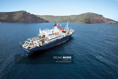 The Marion Dufresne II ship in Saint-Paul subantarctic island