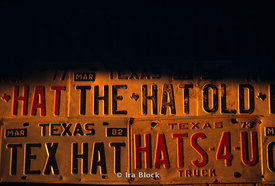 A collection of licence plates in the store of the famous Texas hat maker near Austin, Texas.