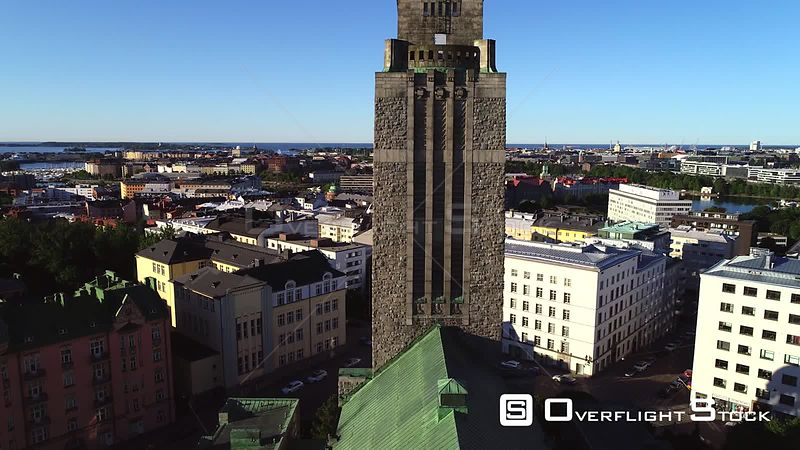 Helsinki Church, Uhd Aerial View Over Kallio Cathedral, Revealing the Cityscape of Helsinki, on a Sunny Summer Morning Dawn, in Helsingfors, Uusimaa, Finland