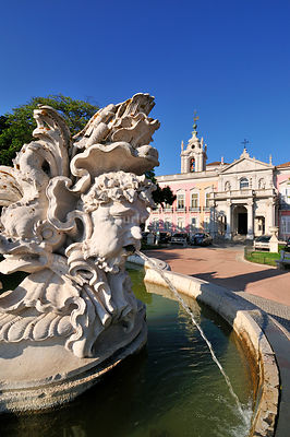 Baroque fountain and Necessidades Palace, the Foreign Affairs Cabinet, 18th century. Lisbon, Portugal