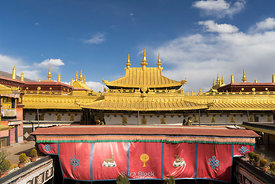 Jokhang Temple, also called the Qokang Monastery, Jokang, Jokhang Temple, Jokhang Monastery or Zuglagkang in Lhasa, Tibet.  For most Tibetans it is the most sacred and important temple in Tibet.
