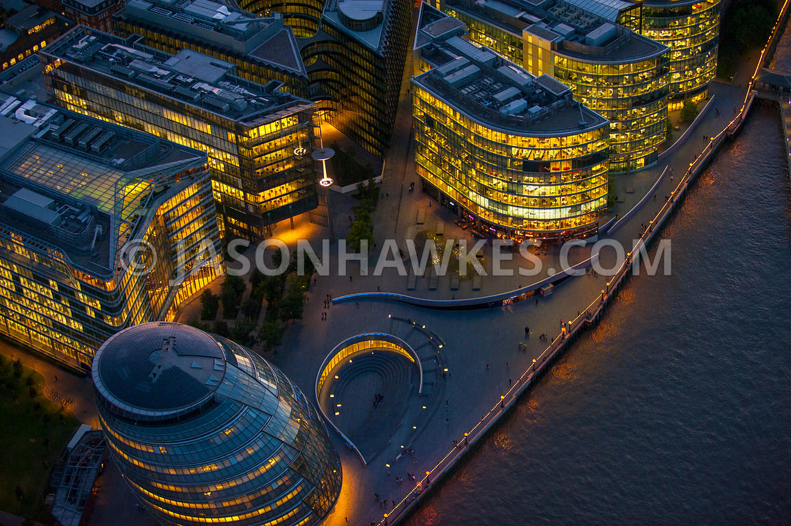 Aeril view over GLA building at night, London