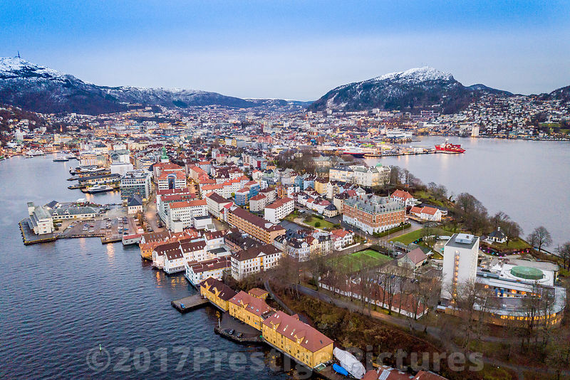 Aerial view of Nordnesparken in Bergen with Snow Capped Mountains in the Background