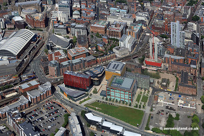 aerial photograph of Tony Wilson Place First St  Manchester England UK.