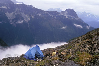 Chilly campsite at 8,000 feet on Stupendous Mtn., in the Nusatsum Valley, Great Bear Rainforest of British Columbia.