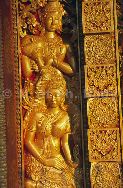 DETAIL PORTE, TEMPLE DE VAT THAT, LOUANG PHRA BANG, LAOS