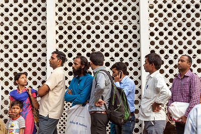 India - New Delhi - People queueing outside of the All India International Medical Sciences (AIIMS) Hospital