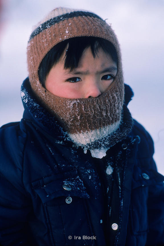 Portrait of a local child at an Eskimo village made up of some 150 people, Little Diomede.